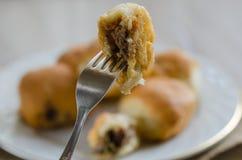 传统土耳其酥皮点心,充满肉末 库存照片
