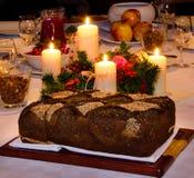 传统圣诞前夕饭桌 免版税库存照片