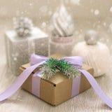 传统圣诞节元素的装饰构成 免版税库存照片