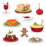 传统圣诞节食物和点心设置了,被仔细考虑的酒,水果蛋糕,焦糖苹果,烤火鸡,土豆泥 向量例证
