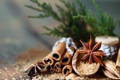 传统圣诞节香料,食物背景 免版税库存图片