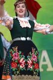 传统地道民间传说的人们在弗拉察,保加利亚附近打扮一个草甸 库存图片