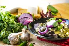 传统墨西哥美食绿色chilaquiles 库存照片