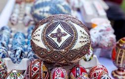 传统复活节彩蛋,手画 免版税库存图片