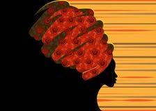 传统头巾的,黑人妇女剪影画象美丽的非洲妇女 免版税库存照片