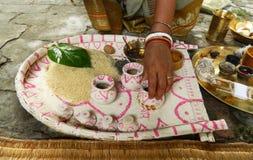 传统孟加拉婚礼仪式 免版税库存图片
