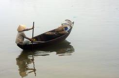 传统小船的Hoi,越南 免版税库存照片