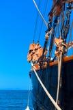 传统小船细节在科孚岛海岛 免版税库存图片