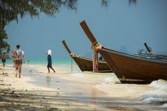传统小船 海岛发埃泰国 库存照片