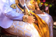 传统巴厘语婚礼在巴厘岛,印度尼西亚 库存照片