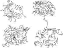 传统巴洛克式的玫瑰华饰的样式 向量例证