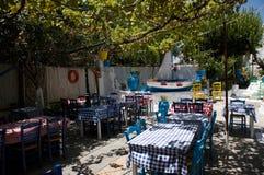 传统希腊餐馆 taverna Mediterranian 库存图片