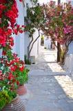 传统希腊backstreet在Cyclades海岛, 免版税图库摄影