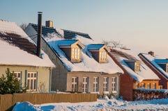 传统建筑在丹麦镇 免版税库存图片