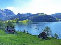 传统建筑学和农舍在Wagital或Waegital谷和由高山湖瓦吉塔莱尔湖Waegitalersee 免版税库存图片