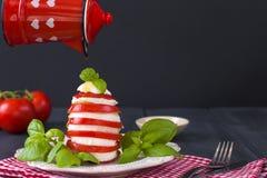 传统意大利人Caprese沙拉-切的蕃茄、无盐干酪乳酪和蓬蒿在黑暗的背景,关闭  Caprese沙拉, 图库摄影