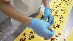 传统意大利面包店 两位女性面包师准备与奶油色Pasticcera、葡萄干和苹果的甜小圆面包 影视素材