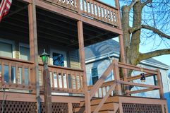 传统房子在波士顿, 2016年12月11日的美国 库存图片