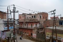 传统房子在阿格拉老镇,印度的北方邦状态 免版税库存图片