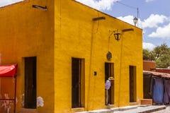 传统房子门面在圣米格尔德阿连德瓜纳华托州我 免版税图库摄影