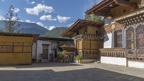 传统房子 Thimpu 不丹王国 免版税库存照片