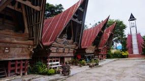 传统房子Batak Tobanese 免版税库存照片