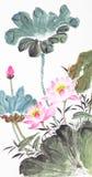 传统抽象中国莲花的绘画 免版税库存照片