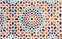 传统摩洛哥马赛克墙壁,摩洛哥细节  图库摄影
