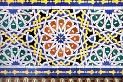 传统摩洛哥马赛克墙壁,摩洛哥细节  免版税库存图片