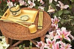 传统日本人集合的茶 库存照片