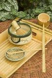 传统日本人集合的茶 免版税库存照片