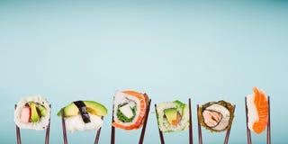 传统日本寿司片被安置在筷子之间,被分离在淡色背景 免版税库存照片