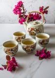 传统日本茶具充满绿茶和新鲜的红色爽快开花反对白色大理石后面 库存图片