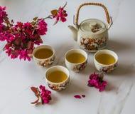 传统日本茶具充满绿茶和新鲜的红色爽快开花反对白色大理石后面 免版税库存照片