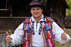 传统服装在罗马尼亚 免版税库存照片