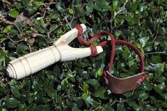 传统木弹射器或弹弓 库存图片