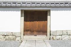 传统木日本寺庙细节  免版税图库摄影