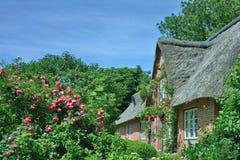 传统村庄在北部弗里西亚,北海,德国 库存图片