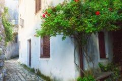 传统欧洲地中海建筑风格在街道和房子,围场,门廊,台阶,在afternoo的快门 库存图片