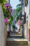 传统欧洲地中海建筑风格在街道和房子,围场,门廊,台阶,快门下午 免版税库存照片