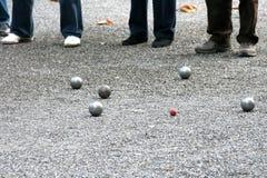 传统法国比赛的petanque 免版税库存图片