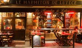 传统法国餐馆Le Marmiton de在圣米歇尔大道附近的Lutece位于巴黎,法国 免版税库存图片