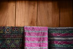 传统泰国丝织物样式 库存照片