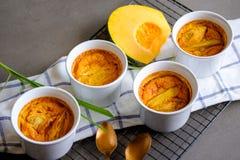 传统泰国点心南瓜和蛋乳蛋糕灌输了香茅 免版税库存图片