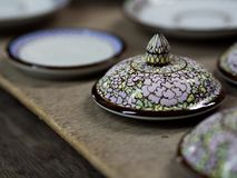 传统泰国Benjarong,陶瓷,泰国 免版税图库摄影