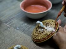 传统泰国Benjarong,陶瓷,泰国 库存照片