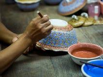 传统泰国Benjarong,陶瓷,泰国 库存图片