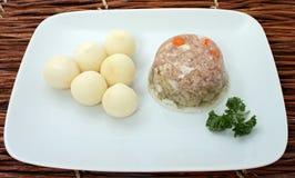 传统爱沙尼亚语果冻肉的猪肉 库存照片