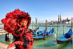 传统狂欢节在威尼斯,意大利。 免版税库存图片