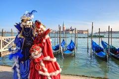 传统狂欢节在威尼斯,意大利。 免版税库存照片